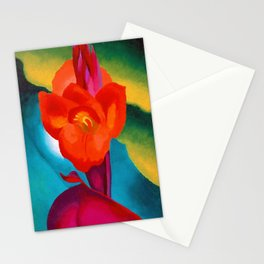 Red Canna Lilies Flower Still life Portrait Painting by Georgia O'Keeffe Stationery Cards