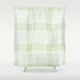 Waves and Lines - Pastel Green Shower Curtain