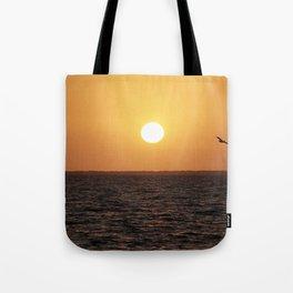 Pelican at Sunset Tote Bag