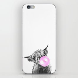 Bubble Gum Highland Cow Black and White iPhone Skin