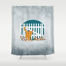 Orange Cat Picket Fence Shower Curtain
