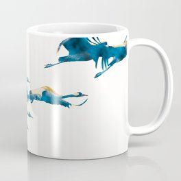 Beautiful Cranes in white background Coffee Mug