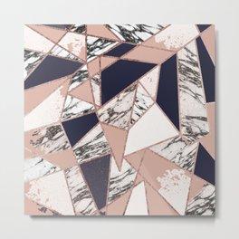 Geometric Navy Blue Peach Marble Rose Gold Triangle Metal Print