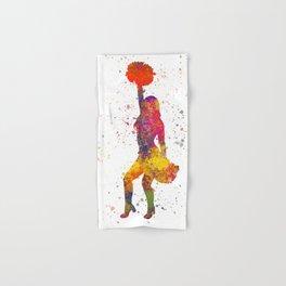 young woman Cheerleader Art Girl Poms Dance in watercolor 09 Hand & Bath Towel
