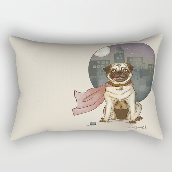 Super pug! Rectangular Pillow