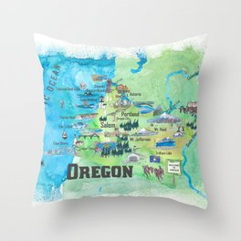 USA Oregon State Travel Poster Illustrated Art Map Throw Pillow