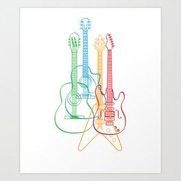 Colored acoustic electric classical guitars shirt Art Print