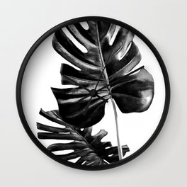 Monstera Black and White 01 Wall Clock