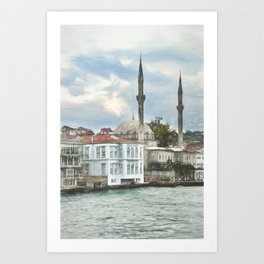 Bosporus Shoreline At Istanbul Art Print