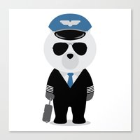 aviation Canvas Prints featuring Aviation Bear by Elle Moz