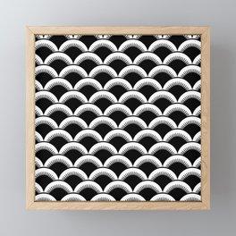 Japanese Fan Pattern 121 Black and White Framed Mini Art Print