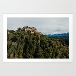 Castle on the hill | Drone | Colourful Travel Photography | Villach, Austria (Europe) Art Print