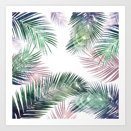 palm leaves tropical Art Print