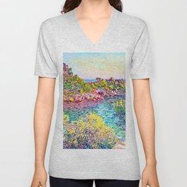Landscape near Montecarlo - Claude Monet Unisex V-Neck