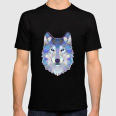 Colorful Wolf MEDIUM Black Mens Fitted Tee