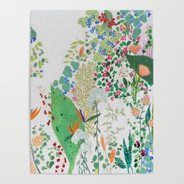Painterly Floral Jungle on Pink and White Poster