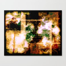 forest Memories Abstract Green And Orange Fire Canvas Print