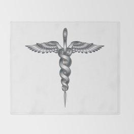 Caduceus Medical Symbol Throw Blanket