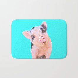 Baby Pig Turquoise Background Bath Mat