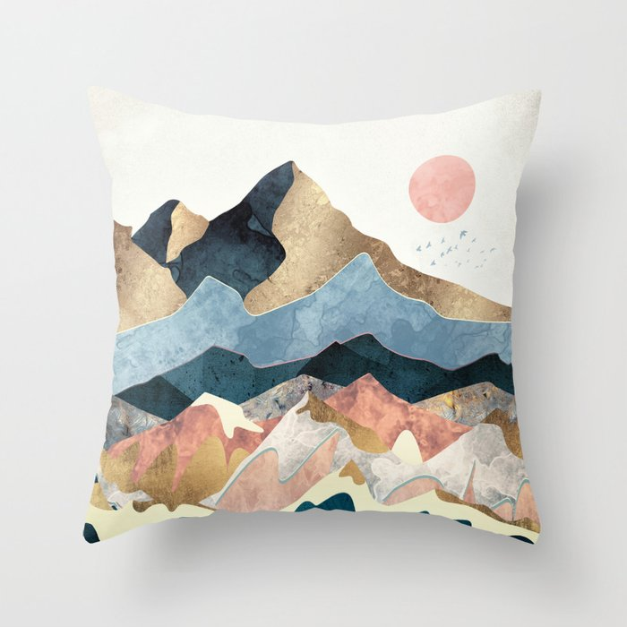 Golden Peaks Throw Pillow