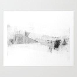 Grey and White Minimalist Geometric Abstract Art Print