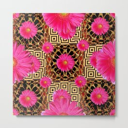 Fuchsia Gerbera Daisy Flowers & Black Gold Patterns Metal Print