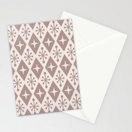 Mid Century Modern Atomic Triangle Pattern 710 Beige Stationery Cards