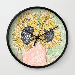 Fall Sunflower Bouquet in Pitcher Offset Wall Clock