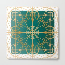Art Deco Frame Gold & Teal Metal Print
