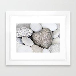 Stone Heart and pebble greige tones Framed Art Print