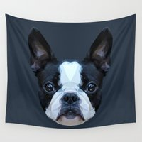 boston terrier Wall Tapestries featuring Frenchie / Boston Terrier // Navy by peachandguava