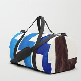 Blue Geometric Minimalist Watercolor Geometric MInimalist Mid Century Modern Lightning Bolt Pattern Duffle Bag
