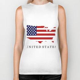 United States map with flag Biker Tank