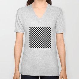 Black and White Checkerboard Pattern Unisex V-Neck