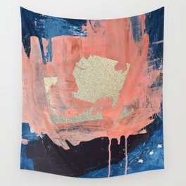 Edge of Reason: a minimal abstract mixed-media piece in pink blue and gold by Alyssa Hamilton Art Wall Tapestry