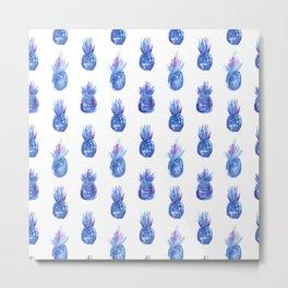 Blue pineapples || watercolor Metal Print
