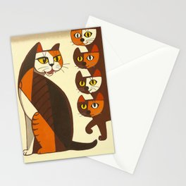 Inagaki Tomoo Vintage Japanese Woodblock print mid century Modern Cubism Art Cats Feline Stationery Cards