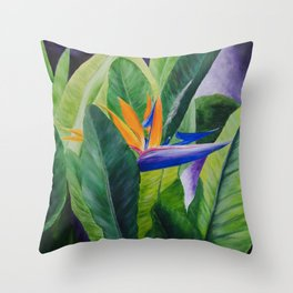 Bird of Paradise Painting by Teresa Thompson Throw Pillow