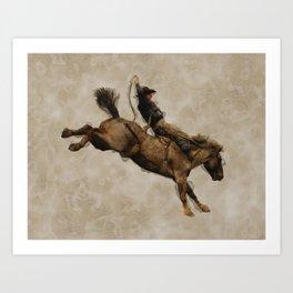 Western-style Bucking Bronco Cowboy Art Print