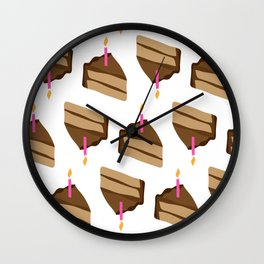 Happy Birthday Piece of Cake and Candle Wall Clock