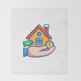 House with hand, gold coin, money 1 Throw Blanket