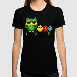 Colorful Owl Family T-shirt