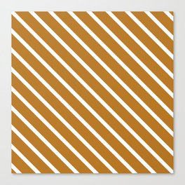 Peanut Butter Diagonal Stripes Canvas Print