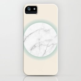 White Marble Circle Pastel Yellow Green Gradient iPhone Case