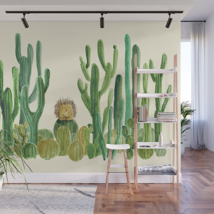 In my happy place - hedgehog meditating in cactus jungle Wall Mural