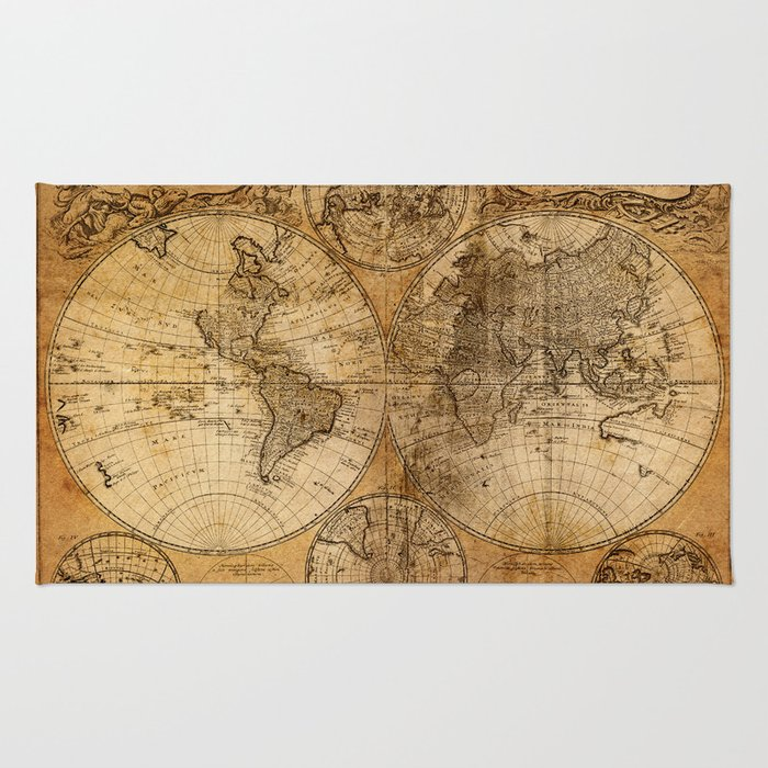 World Map Throw Rug: World Map 1746 Rug By Foxxmap