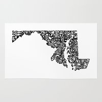 maryland Area & Throw Rugs featuring Typographic Maryland by CAPow!