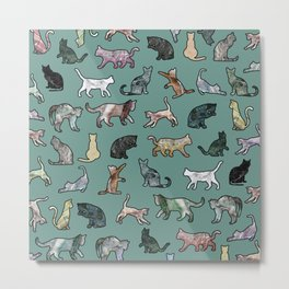 Cats shaped Marble - Green Metal Print