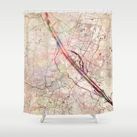vienna Shower Curtains featuring Vienna by MapMapMaps.Watercolors