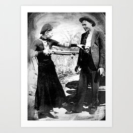 Painting Of Bonnie and Clyde Mock Robert Photo Art Print